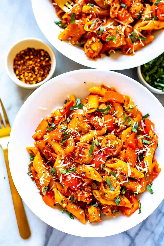spicy penne arrabiata starting the mediterranean diet
