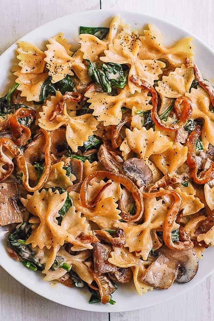 Farfalle Spinach Mushroom Recipe
