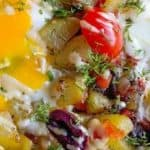 Breakfast potato hash with Tahini