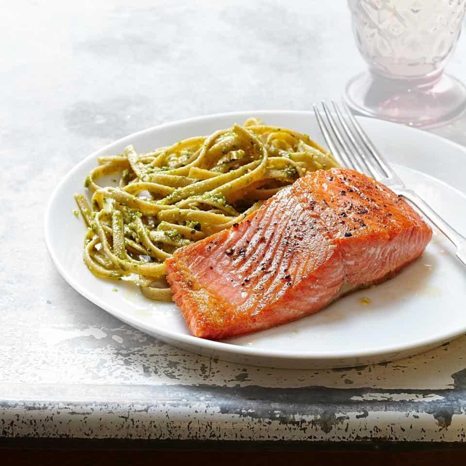 Salmon and Pesto Fettuccine